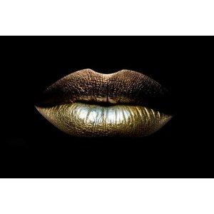 Glass painting 80x120cm Golden lips