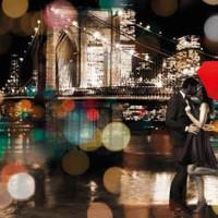 Glasmalerei Kuss in der Nacht 120x80cm