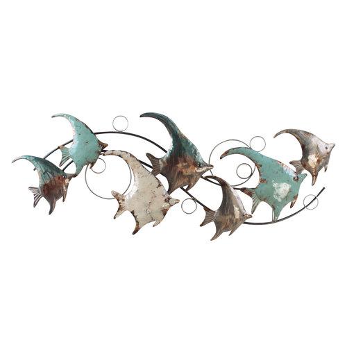 3D metalen wanddecoratie Tropische Vissen