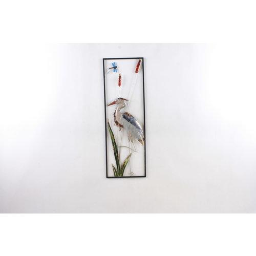 Wanddekoration Reiher 30x90cm
