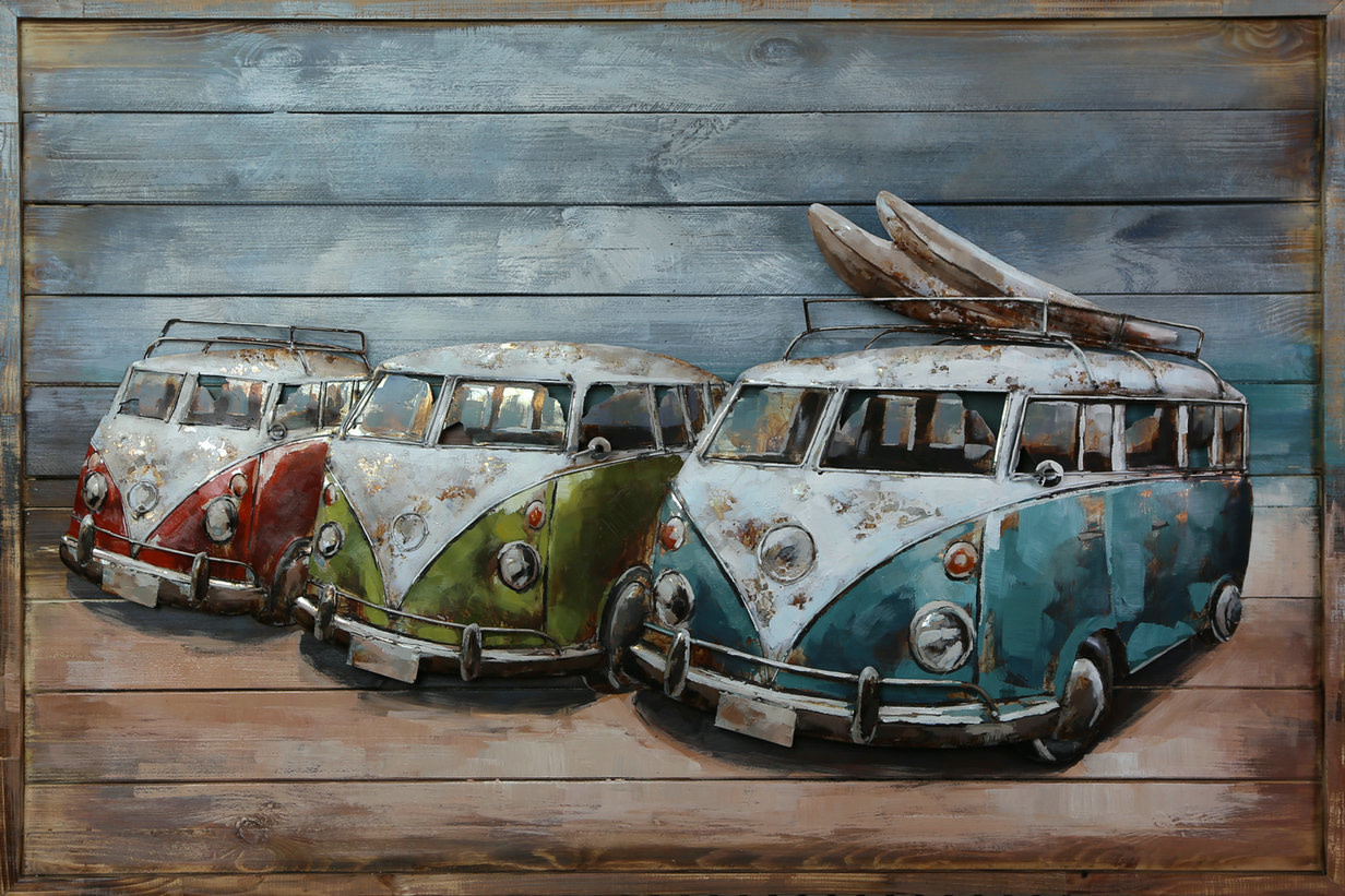 Malerei 3d Metall-Holz 3 Lieferwagen 80x120cm
