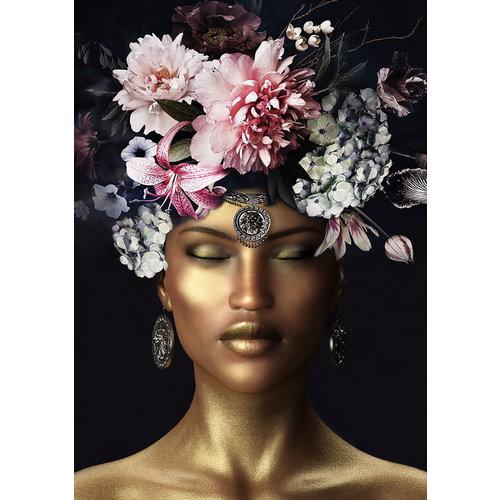 Glasmalerei 80x120cm Blumenstrauß auf dem Kopf