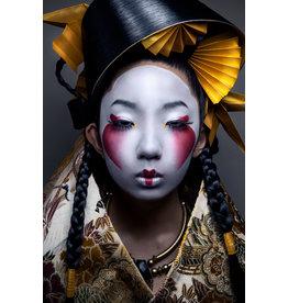 Glasschilderij Japanse vrouw 80x120cm