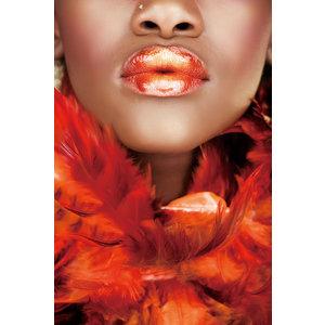 Glasschilderij Rode lippen 110x160cm