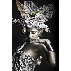 Glasschilderij Vrouw afrika met zilver folie effecten