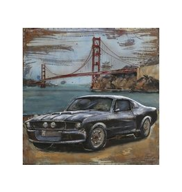 Metal painting Mustang 100x100cm