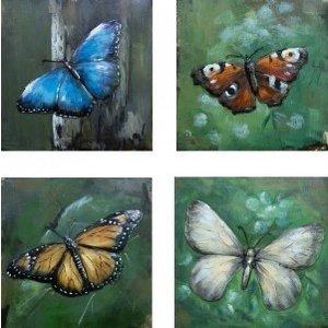 Schmetterlinge aus Metall mit vier Feldern