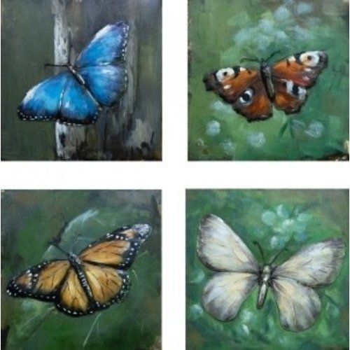 Four-panel metal Butterflies