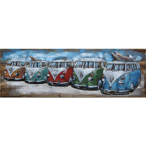 Malerei Metall-Holz 3d 5 Lieferwagen 50x150cm