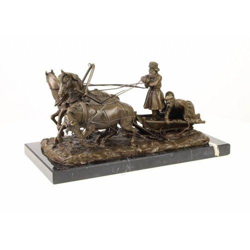 Beeld brons 3 paarden met troika