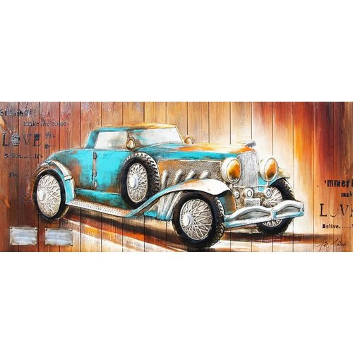 Eliassen 3d painting wood 60x155cm Car blue