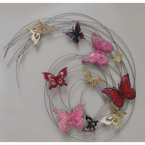 Wall decoration metal 3d butterflies red