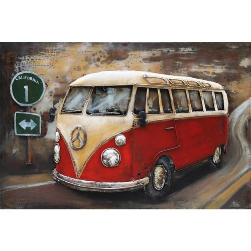 Eliassen 3D painting metal 120x80cm VW bus red with traffic sign
