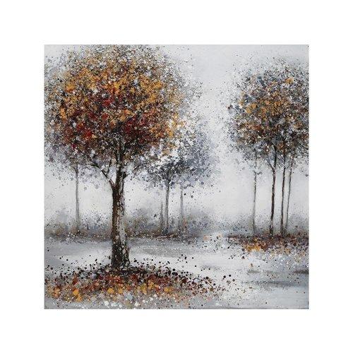 Canvas schilderij 100 x 100 cm Bomen herfst