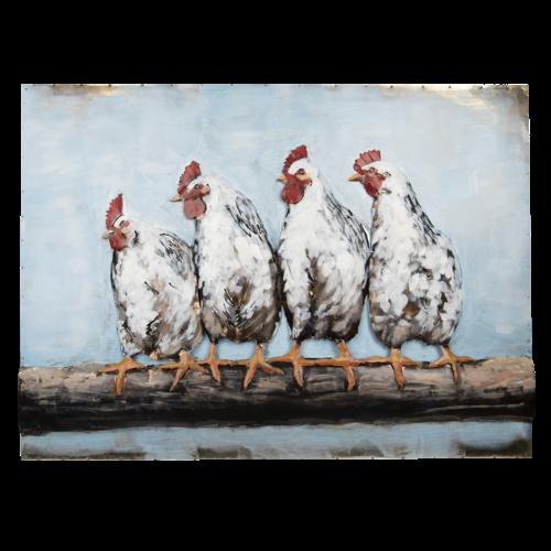 Eliassen 3D-Malerei 100x75cm Hühner