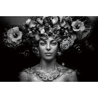 Glasschilderij Vrouw met bloemen muts 160x110cm