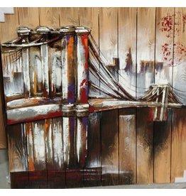Schilderij 3d hout 90x90cm Brug