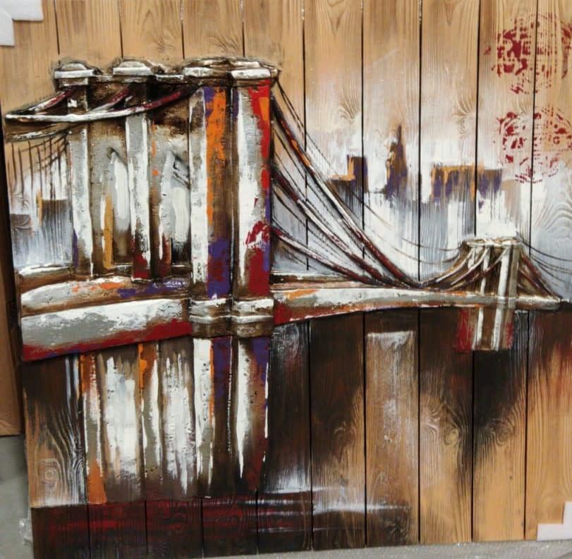 Gemälde 3d Holz 90x90cm Brücke