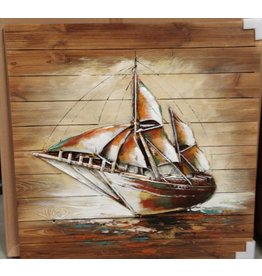 Painting 3d wood 90x90cm Sailboat