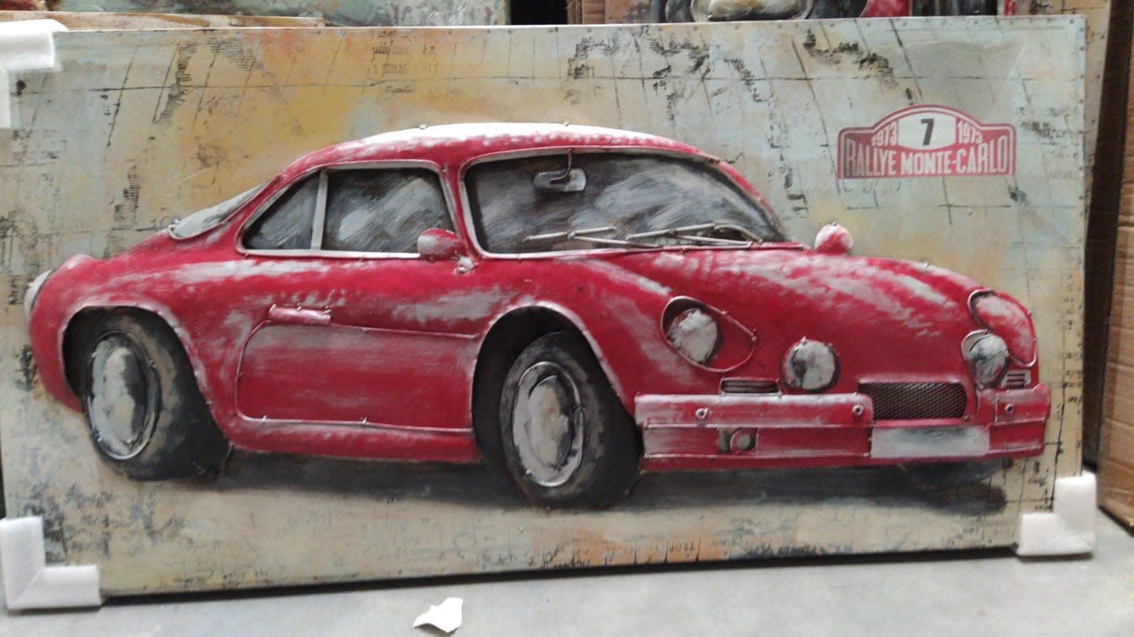 3D schilderij metaal 60x120cm Auto