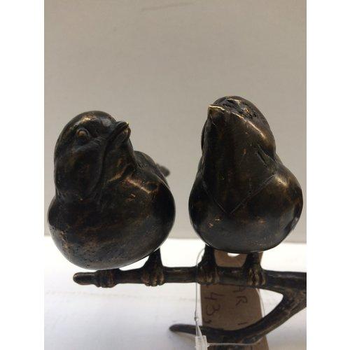 Bronze 3 Spatzen auf Ast