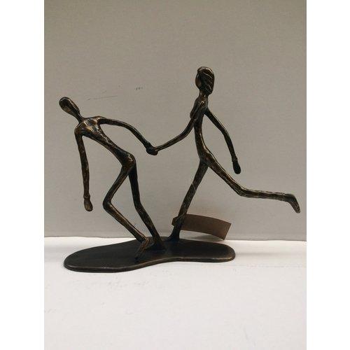 Bronze couple running