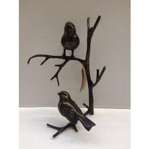 Bronze wall branch 2 sparrows