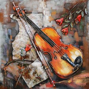 3D Painting metal Violin 80x80cm