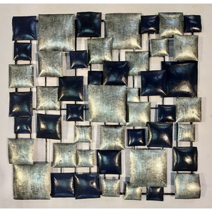 Muurdecoratie Blokken Zilver-zwart 70x70cm