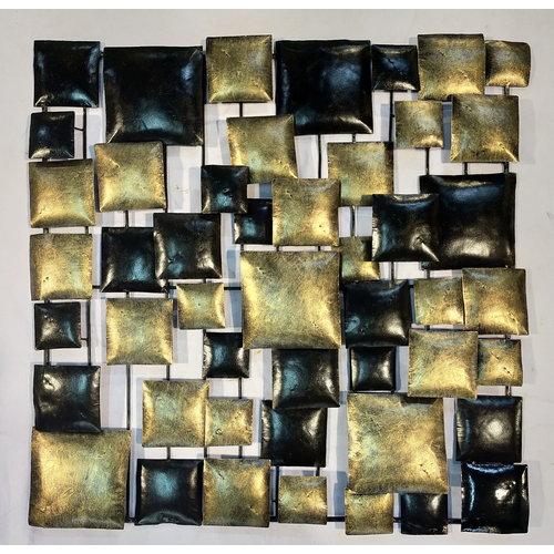 Muurdecoratie blokken goud zwart 70x70cm