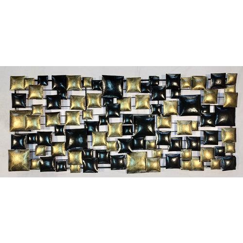 Muurdecoratie 3d Blokken zwart/goud 60x140cm