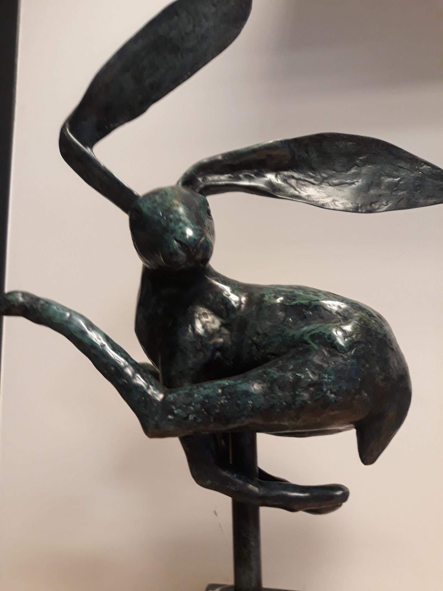 Bronzen haas op blok