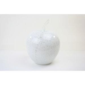 Beeld glas Appel wit 25cm