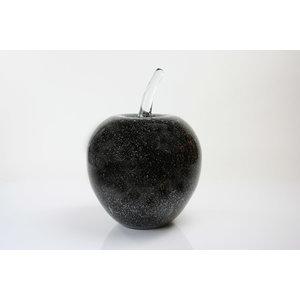 Glas beeld Appel zwart 25cm