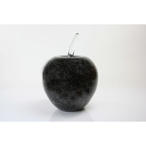 Glass sculpture Apple black 25cm