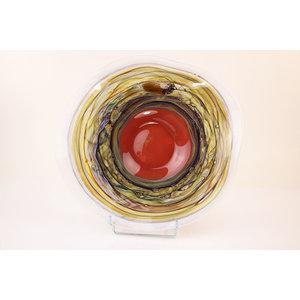 Glazen schaal Fire bruin 40cm