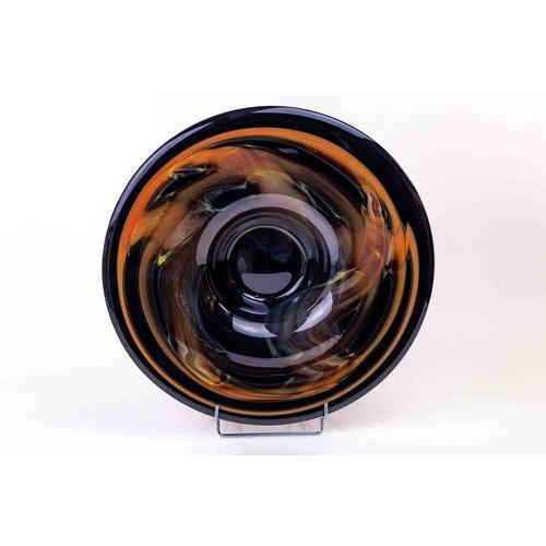 Glazen schaal zwart/oranje 44cm