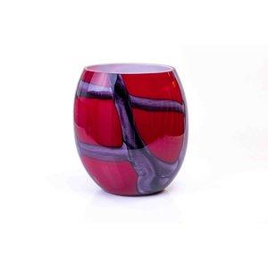 Vase glass red 30cm