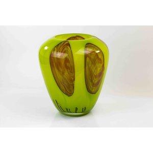 Vase glass Red Dot n Green sphere 33cm