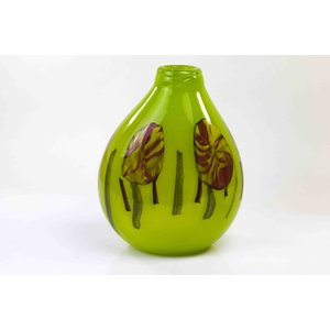 Glass vase Red Dot on Green 35cm