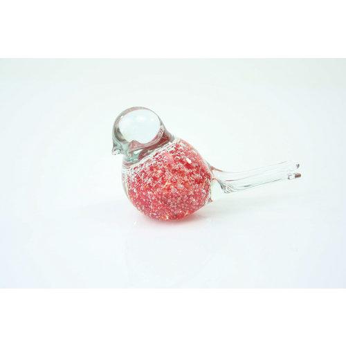 Beeldje glas Vogel rood met luchtbellen 12cm