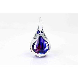 Kristallglas Tropfen kleine runde blau / rot 12cm