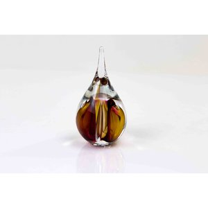 Crystal glass droplet small round brown / red 12cm