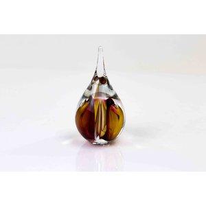 Kristallglas Tröpfchen klein rund braun / rot 12cm