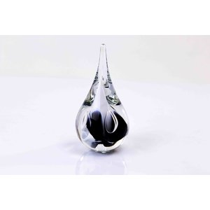 Crystal glass Drop small round black / white 12 cm