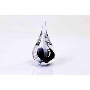 Kristalglazen Druppel klein rond zwart/wit12cm