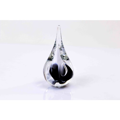 Crystal glass Drop small round black / white 12cm