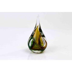 Druppel kristalglas klein rond bruin/groen 12cm
