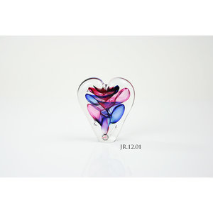Crystal glass object Heart multi 12cm