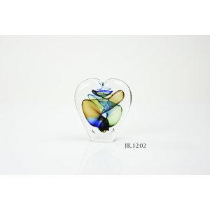 Object crystal glass Heart gold multi 12cm
